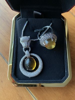 Amber rock necklace and ring set for Sale in Honolulu, HI