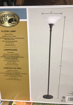 New Hampton Bay 72 in. Bronze Torchiere Floor Lamp with Alabaster Glass Shade for Sale in Glendale, AZ