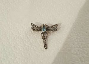 Genuine 1.1x1.0 Inch .925 Solid Sterling Silver Crystal Blue Topaz Dragonfly Pin. for Sale in Central Falls, RI