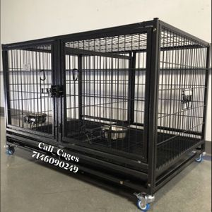 Dog Pet Cage Kennel Size 43 Upper Folding With Divider And Feeding Bowls for Sale in Montclair, CA
