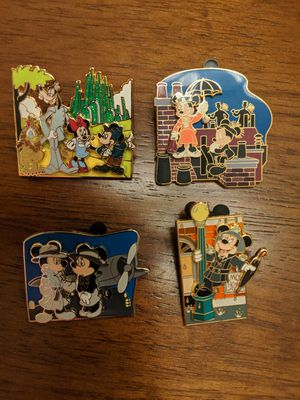 Disney movie moments pins-The great movie Ride 4 pins being sold together for Sale in Glendale, AZ