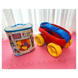Mega Bloks Wagon with Mega Bloks Bag | Kids Toys for Sale in Miami, FL