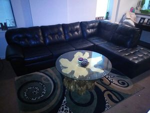 Leather Sectional - Black for Sale in St. Louis, MO