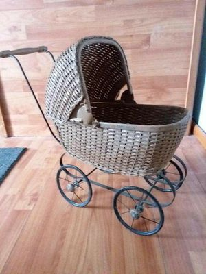 Antique early 1900s baby doll carriage/stroller vintage chidrens toys for Sale in Aurora, CO