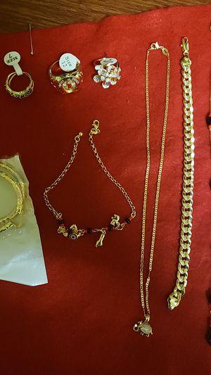 Azabache bracelet, azabache necklace, elephant necklace, 3 rings ( 1 men/2 women), hoop earrings, gold bracelet for Sale in McKee City, NJ