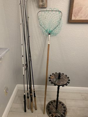 Fishing rods fishing net tackle box fishing rod holder and salt water lures for Sale in Oviedo, FL