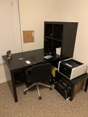 Ikea Expedit Desk, Bookcase Cube Display, Side Table and Office Chair for Sale in Melbourne, FL