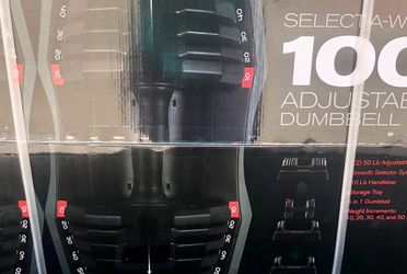 100lb Adjustable Select A Weight Dumbbell Set ( 2- 50lb Dumbbells ) Brand New in box. Adjusts from 10- 50lbs. Great for exercise fitness lifting home for Sale in Puyallup,  WA