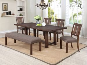 6 Pc Dining Table with Extension Leaf Set for Sale in Pomona, CA