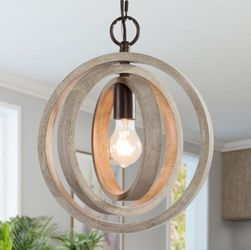 LNC Navejo 12 in. 1-Light Rustic Distressed White Wood Chandelier Farmhouse Globe Orb Cottage Island Ceiling Pendant Light for Sale in Dallas,  TX