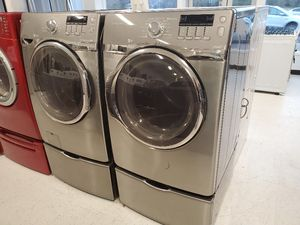 Samsung front load washer and electric dryer set with pedestal in good condition with 90 day's warranty for Sale in Mount Rainier, MD