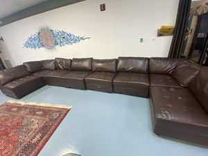 Brown Leather full set couch for Sale in Annandale, VA