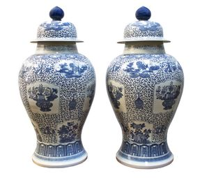 Chinese Blue & White Hand Painted Extra Large General Vase With Lid Top for Sale in Miramar, FL