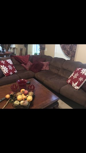 Large sectional couch with matching triangle ottoman not shown for Sale in Brentwood, TN