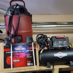 Briggs And Straton 3 Gallon Compressor, Five Gallon Portable Air Tank ,5 Gallon Wet And Dry Vacuum And Blower for Sale in Fort Lauderdale, FL
