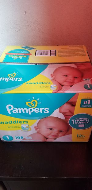 Pampers swaddlers size 1 198 daipers $40 firm price for Sale in Los Angeles, CA