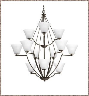 New Bravo Collection 12-Light Antique Bronze Chandelier with Shade with White Etched Glass Shade for Sale in Dallas, TX