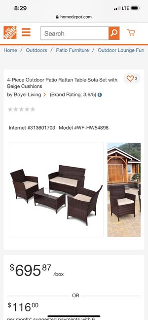Home Depot Patio Table sofa set for Sale in Woodlake, CA