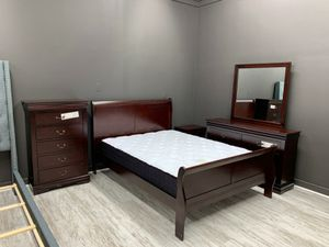 🆕️ Best  OFFER   🍻🍾 HOT DEAL] Louis Philip Cherry Sleigh Bedroom Set 4-Piece Queen (QB/D/M/N) 499 for Sale in Jessup, MD