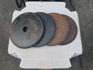 Sale until 12 noon Sat 6/6 - most weights $1.50 lb; 1 inch metal plates; 2 1/2, 5s, 10s, 20s, 25s, 50s ; condition varies ; for Sale in Greensboro, NC