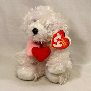 """""""Loveypup"""" Beanie Baby – The Beanie Babies Collection – Plush White Dog Toy w/Hearts for Sale in Salt Lake City, UT"""