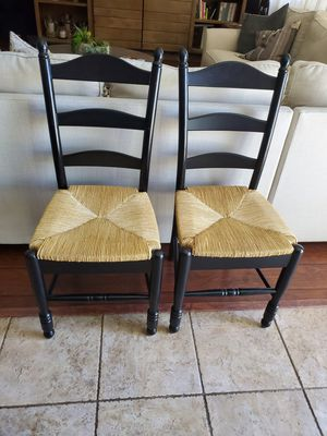 Black Wood Rattan Woven Seat Dining Chairs for Sale in Winchester, CA