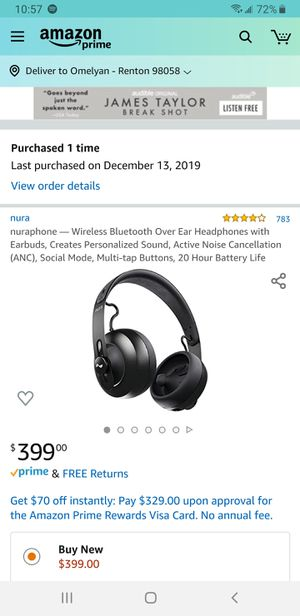 Like new-nuraphone — Wireless Bluetooth Over Ear Headphones with Earbuds, Creates Personalized Sound, Active Noise Cancellation (ANC) for Sale in Renton, WA