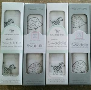 Brand New in individual boxes-4 Pack Set - SwaddleDesigns Cotton Muslin Swaddle Baby Blanket /Stroller Cover/Receiver Blanket for Sale in Katy, TX