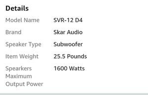 Skar Subwoofers and box for Sale in Westampton, NJ