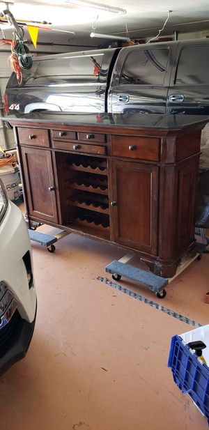 Cherry wood and granite bar for Sale in Phelan, CA