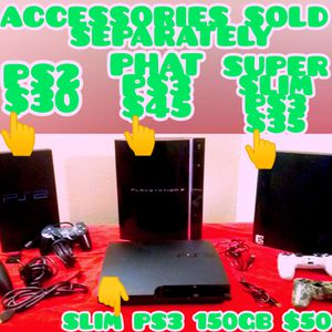 PS2, PS3, PHAT, SLIM, AND SUPER SLIM (ACCESSORIES SOLD SEPARATELY) for Sale in Las Vegas, NV