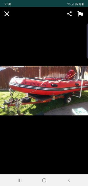 Boat,dinghy boat, inflatable boat, outboard motor, trailer for Sale in Chula Vista, CA