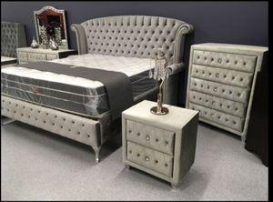 Sofia Gray Velvet Platform Bedroom Set free delivery for Sale in Austin, TX