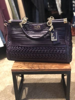 Large Coach Bag ~ Deep Purple Leather, brand new!! for Sale in Lake Tapps, WA
