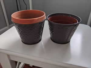 "4"" Tin Plant/Flower Pots (Set of 2) for Sale in Alexandria, VA"