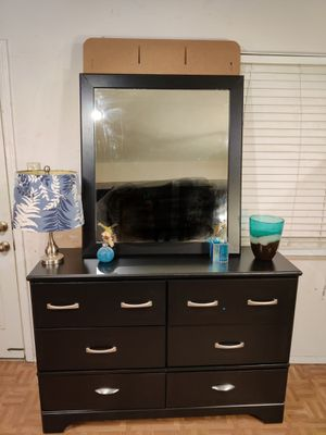 "Black dresser with big mirror in good condition. L54""*W16""*H37"" for Sale in West Springfield, VA"