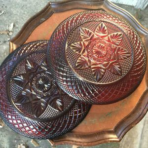 Red Depression Glass Dinner Plates for Sale in Byron, GA