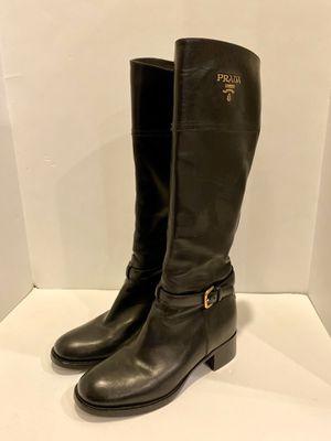 PRADA Women's Black Leather Riding Boots Size 40 EU for Sale in Aurora, IL