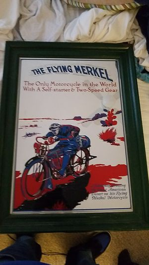 Historic flying Merkel mirrored advertisement sign for Sale in Ardmore, PA