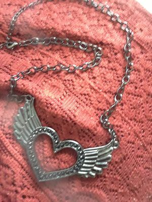 Necklace, Heart with Wings--> gun metal with black rhinestones for Sale in Cedar Falls, IA