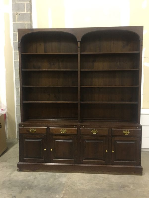 Wooden brown cabinet with hutch