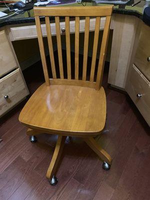 Wooden desk rolling chair for Sale in Leesburg, VA