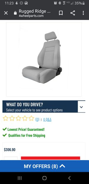 Jeep Rugged Ridge 13446.09 Ultra Gray XHD Front Seat with Recliner for Sale in Columbus, OH