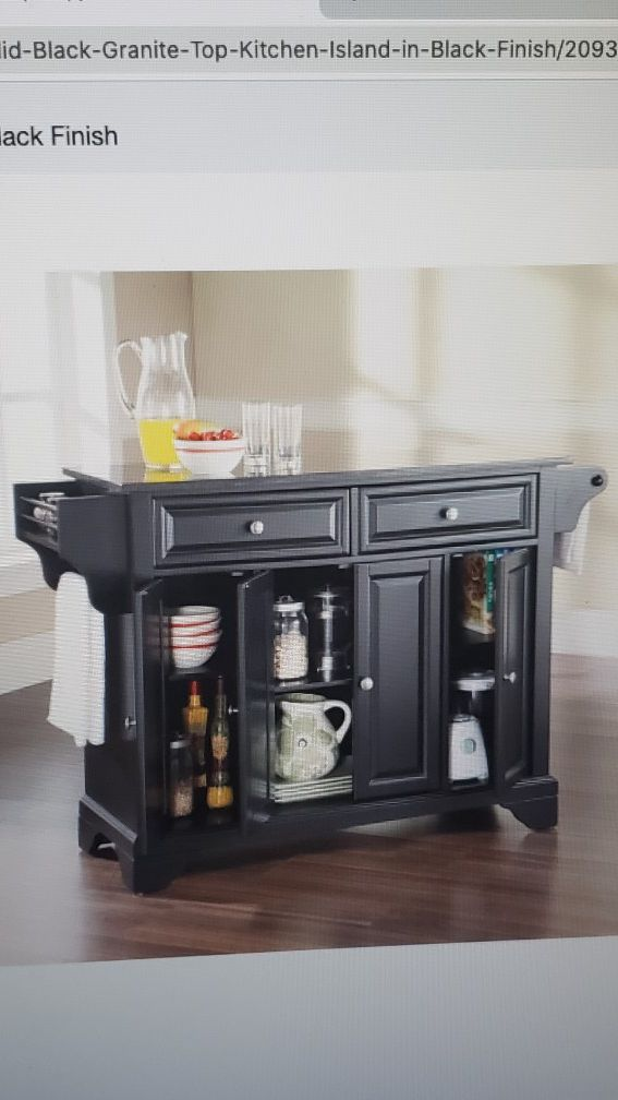 Overstock- solid black Island in black finish