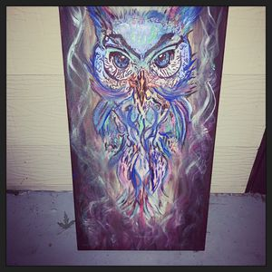 12x 24 inch has painted owl for Sale in Bloomington, IL