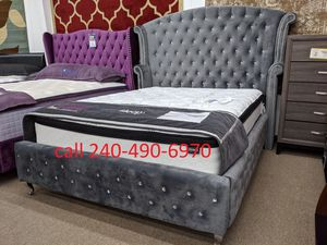New silver velvet rhinestone queen size platform bed frame only for Sale in Silver Spring, MD