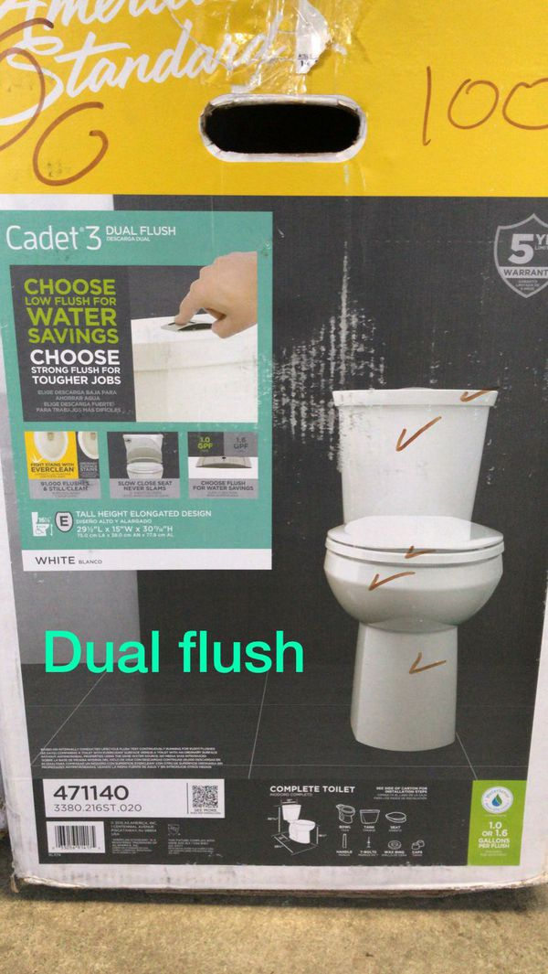 American standard cadet 3 tall height elongated design dual flush toilet