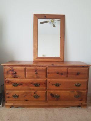 """Wood Dresser w/ mirror - 56""""l x 30""""h x 16""""d for Sale in Hampton, VA"""