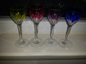 Antique genuine Baccarat crystal colored 5.5 in wine glasses for Sale in Toms River, NJ