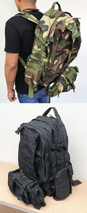 New in box $25 each 55L Outdoor Sport Bag Camping Hiking School Backpack (Black or Camouflage) for Sale in Pico Rivera, CA